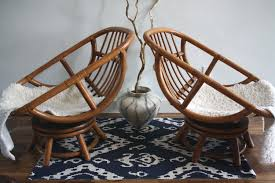Vintage Bamboo Swivel Egg Chairs Boho Chic Set By TheTurquoiseIris With Best Rattan