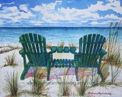 adirondack chairs on beach. Beach Painting Chair Art Print Decor Adirondack Chairs On