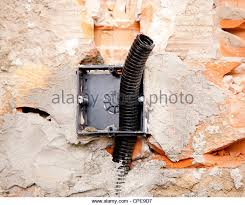 conduit box stock photos conduit box stock images alamy electrical coil conduit pipe on box embedded in the wall before tiling
