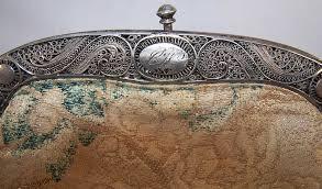 antique silver filigree frame french silk brocade purse close up