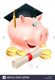 happy piggy bank cartoon graduation cap and diploma scroll  happy piggy bank cartoon graduation cap and diploma scroll gold coins saving for a career or education