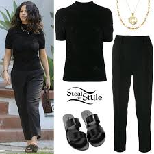 Pants Shirt Selena Gomez Black T Shirt And Pants Steal Her Style