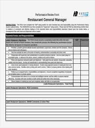 Restaurant Manager Review Forms Restaurant Manager Review Forms Radiovkm Form Information