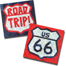 Paper Panache Paper-Pieced Route 66 & Road Trip Highway Signs ... & Use any three colors for these odes to travel! The US 66 pattern contains  those numbers only; no other numbers are supplied. Adamdwight.com