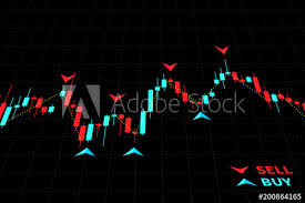 Forex Trading Indicators Vector Illustration On Black