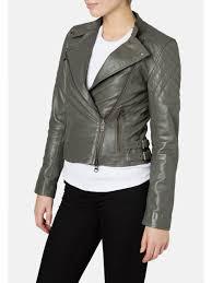 muubaa siata leather biker jacket in dark grey