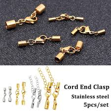 10pcs lot leather cord bracelet lobster clasps hooks 3 4 5 6 8 9 10mm crimps end tip caps connectors for jewelry making findings
