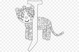 coloring book drawing line art alphabet black and white jaguar cartoon