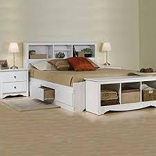Amazon.com: Prepac Monterey White Queen Wood Platform Storage Bed 3 ...