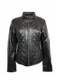 womens padded leather jacket black