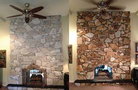 painted white rock fireplace before and after google search