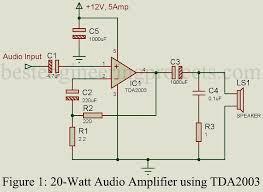 audio amplifier schematic this noninverting audio amplifier circuit 20 watt audio amplifier using tda2003 engineering projects audio amplifier schematic this noninverting audio amplifier circuit