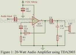 20 watt audio lifier using tda2003 engineering projects car audio lifier using tda2003 electronic circuits and diagram