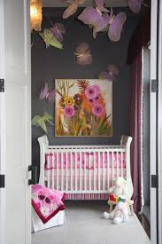 Beautiful Dark Gray Baby Nursery With Butterfly Decoration Mounted On The  Wall And Ceiling