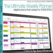 Teacher Weekly Planners Teacher Planner Templates Editable Teacher Binder Excel Google