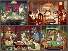 dogs playing pool tapestry photos