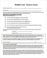 health insurance waiver form template sample health waiver forms 7 free documents in word pdf