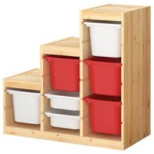 Ikea Toy Organizer Furniture Wooden Ikea Toy Storage Filled With Red And White Boxes