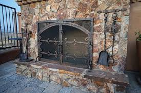stone fireplace doors