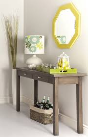 table for entryway. Furniture, Modest Narrow Console Table Entryway Cherry Wood With Double Drawers And Square For T