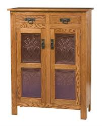 Amish Cabinet Doors Amish Mission Style Two Door Cabinet With Copper Paneling