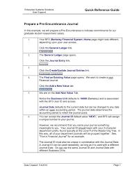 Quick Reference Guide Prepare A Pre Encumbrance Journal