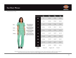 Dickies Size Chart Women S Pants Scrubs And Uniform Fit Sizing Guides The Uniform Outlet