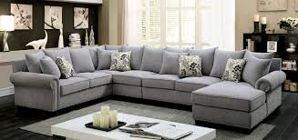 fabric sectional sofas. CM6156GY 3 Pc Skyler Gray Fabric Sectional Sofa With Nail Head Trim Accents Sofas