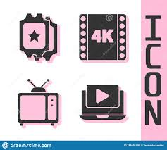 Set Online Play Video, Cinema Ticket, Retro Tv And 4k Movie, Tape, Frame  Icon. Vector Stock Vector - Illustration of multimedia, grey: 188591095