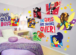 com dc super hero girls large wall decal set home kitchen