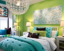 teen girl bedroom decor bright green wall modern chandelier wall painting