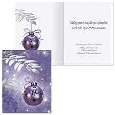 Purple Christmas Card Symphony In Purple Note Card Size Personalized Christmas Cards Set Of 20