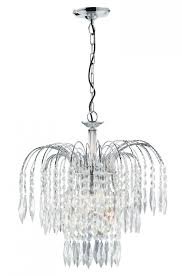 waterfall chrome 3 light ceiling fitting with crystal ons drops