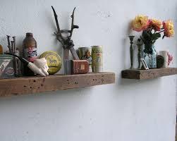 rustic reclaimed wood floating shelves
