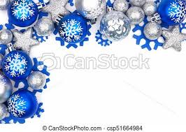 Christmas Ornaments Border Blue And Silver Christmas Ornament Corner Border Over White