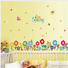 spring home decorative wall stickers clover wallpapers gifts for kids room decor sticker cute flowers grass decorative glass stickers wall stickers for kids