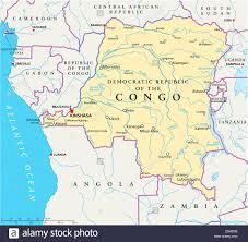 La Repubblica Democratica del Congo Mappa Politico con capitale Kinshasa,  confini nazionali più importanti città, fiumi e laghi Foto stock - Alamy