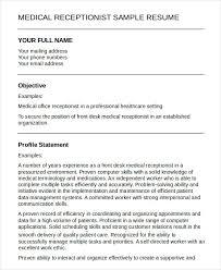Medical Receptionist Sample Resume Sample Resume For Receptionist