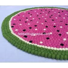 fruity watermelon felt ball rug