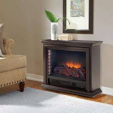 freestanding mobile infrared fireplace in espresso