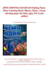 Pdf Download Read Finding Nemo Dory Coloring Book Dinsey Pixar G