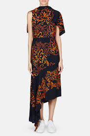 Peter Pilotto Size Chart Silk Embroidered Cape Dress Navy
