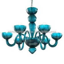 colored glass chandelier 6 lights aquamarine color multi blown