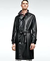 mens faux fur coat faux leather trench coat