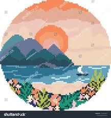 Sunrise Landscape And Design Sunrise Landscape Sea Flat Design Pixel Stock Vector