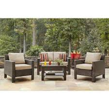 Home depot patio furniture Padded Sling Patio Beverly 4piece Patio Deep Seating Set With Beverly Beige Cushions The Home Depot Beverly Weather Resistant Brown Outdoor Lounge Furniture