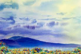 watercolor painting landscape colorful of daisy flowers yellow stock ilration ilration of abstract