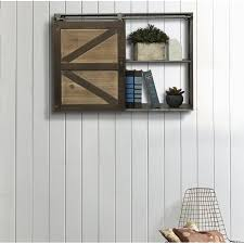 leipzig farmhouse sliding barn door storage cabinet wall shelf