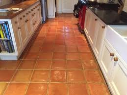 terracotta floor with efflorescence in lymington before