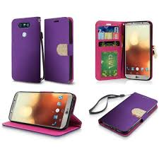 lg flip phone purple. lg g6 case, by insten pu leather bling flip wallet credit card stand case cover for - rose gold lg phone purple